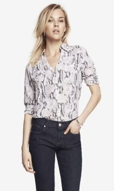 Love this snakeskin print convertible sleeve shirt. The pants are pretty awesome, too! #Express