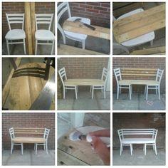 2 houten stoelen en wat pallethout om een bankje te maken :)