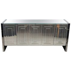 Mid-Century Modernist Mirrored And Chrome Sideboard By Ello At 1stdibs