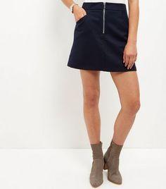 Navy Zip Front A-line Mini Skirt   New Look