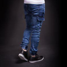 2Y Men Slim Fit Cargo Denim Jogger Jeans - Blue