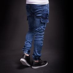 2Y Men Slim Fit Cargo Denim Jogger Jeans - Blue