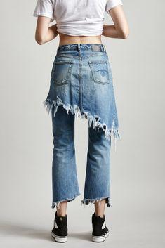 Denim Double Classic jean with skirt feature in Jasper Ripped Denim Skirts, R13 Denim, Denim Pants, Vetement Hippie Chic, Denim Fashion, Fashion Outfits, Chic Outfits, Estilo Jeans, Denim Ideas