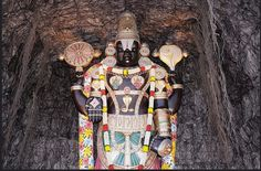 Unknown Facts about Lord Balaji at Tirupati - TemplePurohit.com  1. At the entrance of the main door to the right side a stick which was used by Ananthaalvar to hit Venkateshwara Swamy is present. When this stick was used to hit the small boy Venkateshwara his chin was hurt. Since then the practice and tradition of applying Sandalwood paste on Swamys chin began.  2. There is real hair on the main idol of Venkateshwara Swamy. They say that this hair never tangles and is silky smooth always…