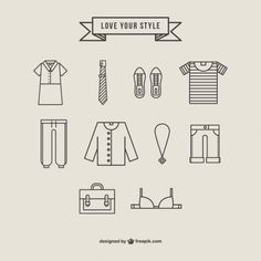 Collection of Clothing Icons Free Vector
