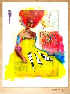 Remixed magazine ad, collage and acryl with pencil