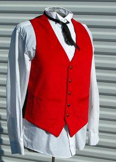 M Mens Steampunk Vest Red Corduroy