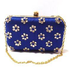 Ladies Girls Indian Handmade Partywear Blue Wedding Clutch Wallet Purse Sale #Handmade #Clutch