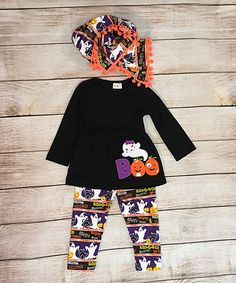 Loving this Black & Orange Ghost Pants Set - Infant & Kids on #zulily! #zulilyfinds