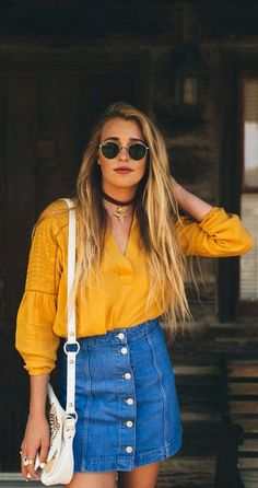 Gold blouse denim skirt