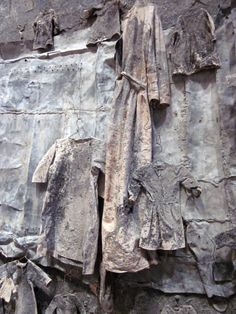 Anselm Kiefer, Die Welle, 1990.  Lead, clothes, steel wire, and ash on canvas.