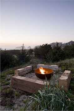 """""""Butt benches"""" and a fire pit; Jessica Helgerson"""