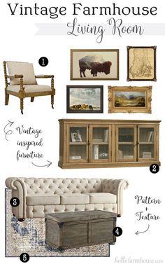 Favorite Pieces for a Vintage Farmhouse Living Room #farmhouse #farmhousestyle #fixerupper #livingroom #farmhousedecor #homedecor