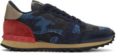 Valentino Garavani Rockrunner Leather And Suede Low-top Trainers In Navy Valentino Men, Valentino Garavani, Valentino Shoes, Camouflage, Baskets, Blue Camo, Printed Denim, Navy Lace, Suede Heels