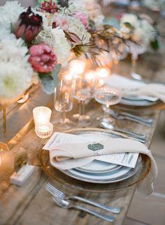 Pretty.  I like the mix of textures especially with the clear glassware. #wedding #reception #decor www.CaboBeachWeddings.com