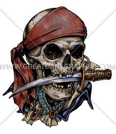 D-4087 Pirate Skull & Knife Digital Printing