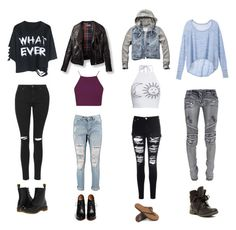 """""""Fall Jeans"""" by naomimerlinelkins ❤ liked on Polyvore featuring Victoria's Secret, Topshop, Balmain, Glamorous, Boohoo, Abercrombie & Fitch, Givenchy, Rainbow Sandals, Rock & Candy and Dr. Martens"""