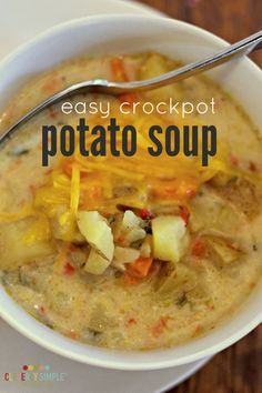 This healthy and easy crockpot potato soup is simple to make! It tastes great too. You can easily make it dairy free as well!