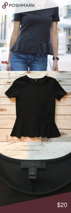 J. Crew Black Peplum Top J. Crew Black Peplum Top. EUC. Structured fit. Women's size XXS. Cotton/Elastane/Nylon blend. J. Crew Tops