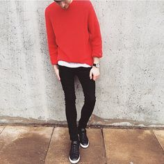 Add a colour pop to an all monochrome look with our red waffle knit, keeping the rest simple. #RIDENIM #riverisland