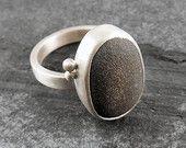 Beach Pebble & Silver Ring - natural stone, artisan, one off, rustic, brushed, matte, CORNART  - Boulder II
