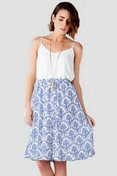 Georgiana Printed Midi Skirt | Pair with a blue tank and white cardigan for a truly sweet ensemble