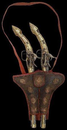 Ottoman flintlock kubur (holster pistols) and holster (kuburluk).