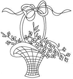 Floral Basket Embroidery or Redwork: