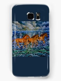 Galaxy Case,  blue,cool,beautiful,fancy,unique,trendy,artistic,awesome,fahionable,unusual,accessories,for sale,design,items,products,gifts,presents,ideas, horses,equine,animals,wildlife,sea,waves,redbubble