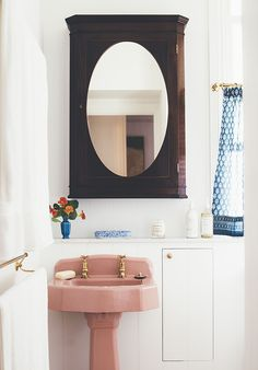 This is our little bathroom at home that we renovated recently. I found the old pink pedestal basin at Marburg Antiques a few years ago and the old china cabinet we converted into a mirrored bathroom cabinet from Michael Allen Antiques at Woolloongabba. Small Bathroom Remodel Cost, Small Bathrooms, Anna Spiro, Blue Color Combinations, Pedestal Basin, Bathroom Mirror Cabinet, Wood Mirror, Mirror Mirror, Architecture Awards