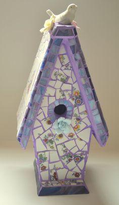 Bohemian Mosaic Birdhouse by Mosaicsmadewithlove on Etsy