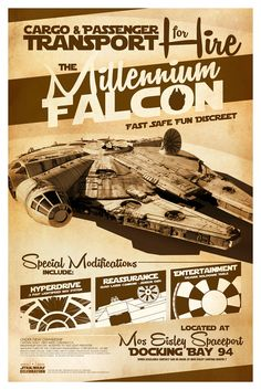 Millennium Falcon for Hire Limited Edition Star Wars Exclusive Licensed Poster…
