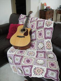"""130-6 Crochet blanket in """"Paris""""  garnstudio pattern"""