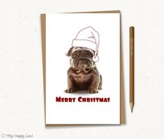 Merry Christmas card  Printable  4X6 Digital file  by MyHappyCard