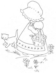 Redwork Embroidery Album Archive - Coloring Pages~Bonnie Bonnet Embroidery Sampler, Machine Embroidery Patterns, Applique Patterns, Vintage Embroidery, Applique Quilts, Embroidery Applique, Embroidery Stitches, Quilt Patterns, Embroidery Designs