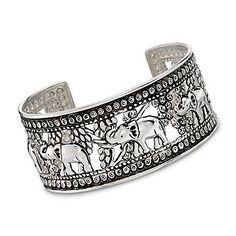 Openwork Elephant Cuff in Sterling Silver