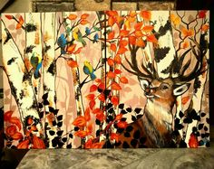 #pallavigallery #canvas #painting #acrylic #artforsale #reindeer #birds #logs #forest #brown #madebyme  😊 😊
