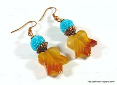 #earrings with #carnelian #leaves and #carved #resin beads #forsale #rozantiqjewelry #bairozan