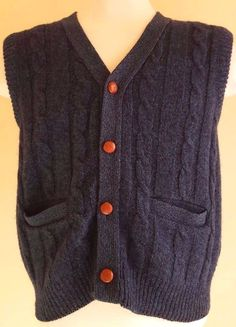 EDDIE Bauer VINTAGE Cardigan SWEATER Large BLUE Green MENS Vest CABLE Knit  SIZE 6ba89dc58