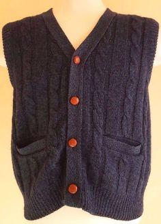 d539736162e EDDIE Bauer VINTAGE Cardigan SWEATER Large BLUE Green MENS Vest CABLE Knit  SIZE