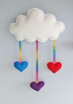 Nuvem ARCO ÍRIS 3 Chuva Coração Feltro Média