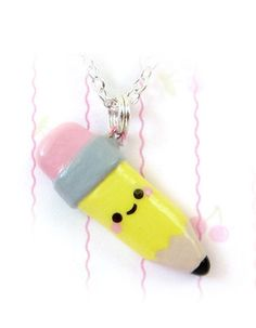 Baby pencil necklace! Handpainted polymer clay.