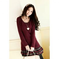$7.86 Casual Style Checked Hem Splicing Long Sleeve Knit False Twinset Dress For Women