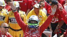 Dario Franchitti celebrates after winning his 3rd Indianapolis 500 on May 27, 2012, taking advantage when Takuma Sato crashed on the final lap. (via nbcsports.msnbc.com; photo: Jeff Haynes / Reuters)