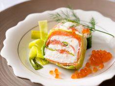 Découvrez la recette Terrine de saumon fumé aux poireaux sur cuisineactuelle.fr.