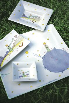 Gab Solórzano Thomas McGee La Petit Prince china pattern by Gien. The Petit Prince, The Little Prince, China Painting, Ceramic Painting, Painted Plates, Hand Painted, Prince Nursery, Letter Mugs, Crafts To Make