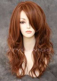 HEAT OK Long Natural Wavy Wig w/ Bangs in Light Auburn & Blonde Mix SASU 30/27 #FullWig