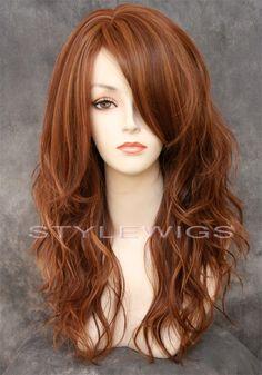 HEAT OK Long Natural Wavy Wig w/ Bangs in Light Auburn & Blonde Mix SASU 30/27 #FullWig