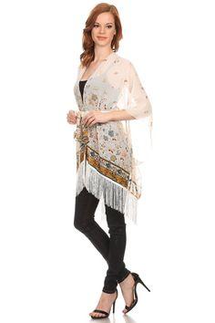 Butterfly kimono poncho with fringe @ www.sunben.com #wholesale #fashionaccessories