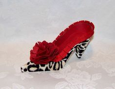 Paper Shoe Keepsake Flocked Leopard with Red by apreciousmemory
